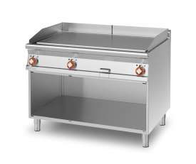 Electric Fry-top smooth griddle, on open cabinet, plate cm.110,5x65 - 3 cooking areas (included 1 Head end filler strip mod.TPA-9)