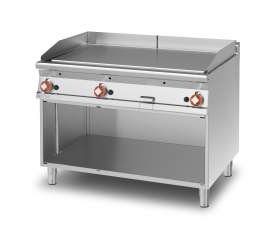 Gas Fry-top smooth griddle, on open cabinet, plate cm.110,5x65 - 3 cooking areas (included 1 Head end filler strip mod.TPA-9)