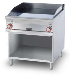 Electric Fry-top smooth griddle, on open cabinet, plate cm.76x68 - 2 cooking areas (included 1 Head end filler strip mod.TPA-9)
