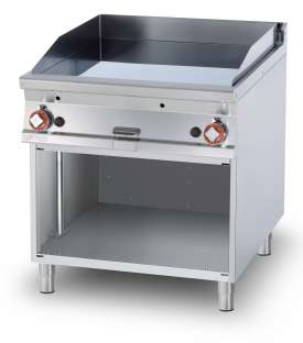 Gas Fry-top smooth griddle, on open cabinet, plate cm.76x68 - 2 cooking areas (included 1 Head end filler strip mod.TPA-9)