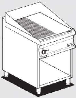 Electric Fry-top 1/2 grooved + 1/2 smooth, on open cabinet, plate cm.56x51 (included 1 Head end filler strip mod.TPA-7)