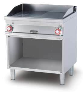 Electric Fry-top 1/2 grooved + 1/2 smooth, on open cabinet, plate cm.76x51 - 2 cooking areas (included 1 Head end filler strip mod.TPA-7)