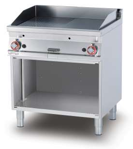 Gas Fry-top 1/2 grooved + 1/2 smooth, on open cabinet, plate cm.76x51 - 2 cooking areas (included 1 Head end filler strip mod.TPA-7)