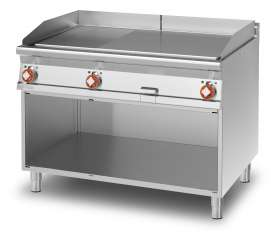 Electric Fry-top 1/3 grooved + 2/3 smooth, on open cabinet, plate cm.110,5x65 - 3 cooking areas (included 1 Head end filler strip mod.TPA-9)