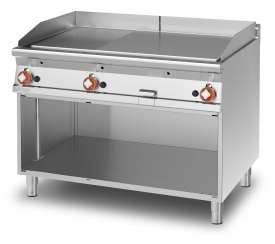 Gas Fry-top 1/3 grooved + 2/3 smooth, on open cabinet, plate cm.110,5x65 - 3 cooking areas (included 1 Head end filler strip mod.TPA-9)