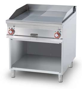 Electric Fry-top 1/2 grooved + 1/2 smooth, on open cabinet, plate cm.76x68 - 2 cooking areas (included 1 Head end filler strip mod.TPA-9)