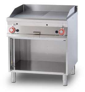 Gas Fry-top 1/2 grooved + 1/2 smooth, on open cabinet, plate cm.76x68 - 2 cooking areas (included 1 Head end filler strip mod.TPA-9)