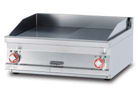 Electric Fry-top 1/2 grooved + 1/2 smooth, plate cm.76x51 - 2 cooking areas (included 1 Head end filler strip mod.TPA-7)