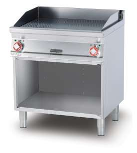 Electric Fry-top grooved griddle, on open cabinet, plate cm.76x51 - 2 cooking areas (included 1 Head end filler strip mod.TPA-7)