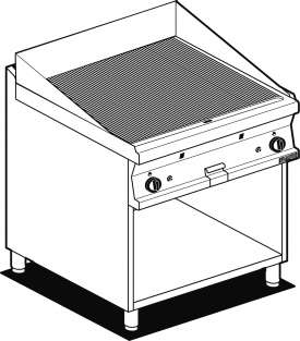 Gas Fry-top grooved griddle, on open cabinet, plate cm.76x51 - 2 cooking areas (included 1 Head end filler strip mod.TPA-7)