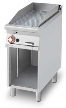 Gas Fry-top grooved griddle, on open cabinet, plate cm.36x68 (included 1 Head end filler strip mod.TPA-9)