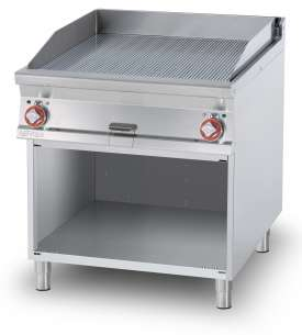 Electric Fry-top grooved griddle, on open cabinet, plate cm.76x68 - 2 cooking areas (included 1 Head end filler strip mod.TPA-9)