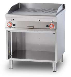 Gas Fry-top grooved griddle, on open cabinet, plate cm.76x68 - 2 cooking areas (included 1 Head end filler strip mod.TPA-9)