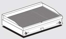 Electric Fry-top grooved griddle, plate cm.116x51 - 2 cooking areas (included 1 Head end filler strip mod.TPA-7)