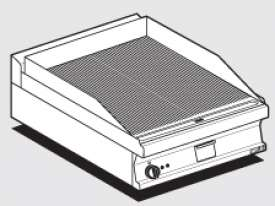 Electric Fry-top grooved griddle, plate cm.56x51 (included 1 Head end filler strip mod.TPA-7)