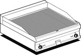 Electric Fry-top grooved griddle, plate cm.76x51 - 2 cooking areas (included 1 Head end filler strip mod.TPA-7)