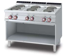 Threephase boiling unit on open cabinet - N. 6 plates (included 1 Head end filler strip mod.TPA-7)