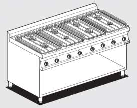 Gas heated boiling unit on open cabinet - 8 burners (included 1 Head end filler strip mod.TPA-7)