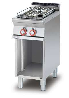 Gas heated boiling unit on open cabinet - 2 burners (included 1 Head end filler strip mod.TPA-7)