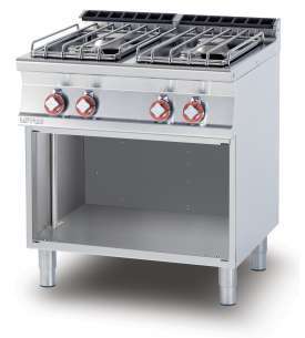 Gas heated boiling unit on open cabinet - 4 burners (included 1 Head end filler strip mod.TPA-7)