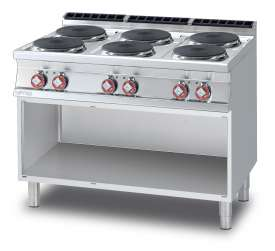 Threephase boiling unit on open cabinet - N. 6 plates (included 1 Head end filler strip mod.TPA-9)