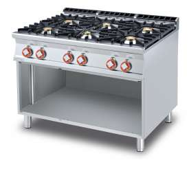 Gas heated boiling unit on open cabinet - 6 burners (included 1 Head end filler strip mod.TPC-9)