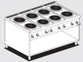 Threephase boiling unit on open cabinet - N. 8 plates (included 1 Head end filler strip mod.TPA-9)