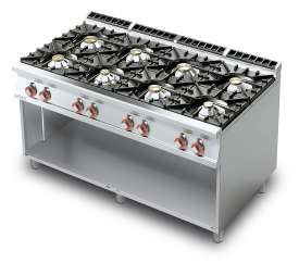 Gas heated boiling unit on open cabinet - 8 burners (included 1 Head end filler strip mod.TPC-9)