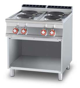 Threephase boiling unit on open cabinet - N. 4 plates (included 1 Head end filler strip mod.TPA-9)