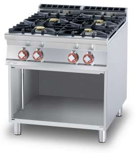 Gas heated boiling unit on open cabinet - 4 burners (included 1 Head end filler strip mod.TPC-9)