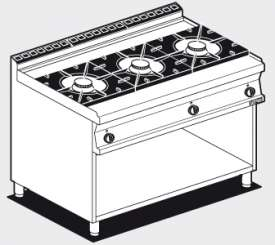Gas heated boiling unit on open cabinet - 3 burners (included 1 Head end filler strip mod.TPA-7)