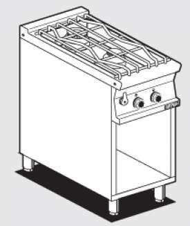 water heated boiling unit on open cabinet - 2 burners - Water loading tap + overflow device (included 1 Head end filler strip mod.TPA-7)