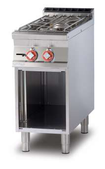 water heated boiling unit on open cabinet - 2 burners - Water loading tap + overflow device (included 1 Head end filler strip mod.TPA-9)