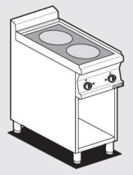 Ceramic glass boiling unit on open cabinet - n. 2 zones - glass cm.35x57 (included 1 Head end filler strip mod.TPA-7)