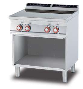 Ceramic glass boiling unit on open cabinet - n. 4 zones - glass cm. 75 x 57 (included 1 Head end filler strip mod.TPA-7)