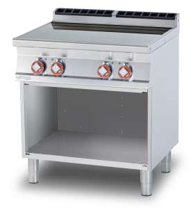 Ceramic glass boiling unit on open cabinet - n. 4 zones - glass cm. 75 x 77 (included 1 Head end filler strip mod.TPA-9)