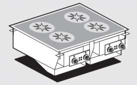 Three-phase induction cooking - 4 zones - glass cm.75x57 (do not place on ovens or drawers)