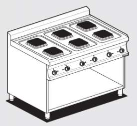 Boiling unit threephase on open cabinet - N. 6 square plates (included 1 Head end filler strip mod.TPA-7)