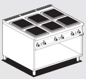 Boiling unit threephase on open cabinet - N. 6 square plates (included 1 Head end filler strip mod.TPA-9)