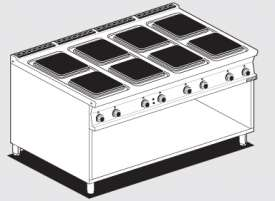 Boiling unit threephase on open cabinet - N. 8 square plates (included 1 Head end filler strip mod.TPA-9)