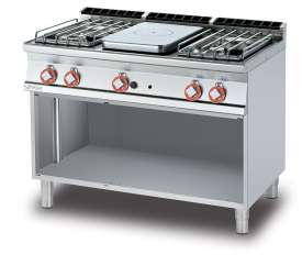 Solid top + 4 burners on open unit Plate 37x57 cm (included 1 Head end filler strip mod.TPA-7)