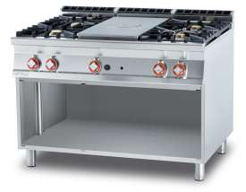Solid top + 4 burners on open unit Plate 39x73 cm (included 1 Head end filler strip mod.TPC-9)