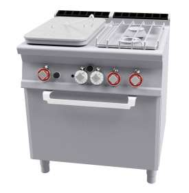 Solid top + 2 burners Traditional gas-oven cm. 67x55x34h, temp: 150÷300°C, with 1 grid cm.65x53 GN2/1 - Plate 37x57cm  (included 1 Head end filler strip mod.TPA-7)
