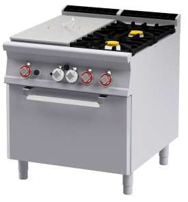 Solid top + 2 burners Traditional gas-oven cm. 67x73x34h, temp: 150÷300°C, with 1 grid cm.65x71 GN2/1 - Plate 39x73 (included 1 Head end filler strip mod.TPC-9)
