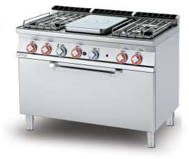 Solid top + 4 burners Traditional gas-oven cm. 107x55x34h, temp: 150÷300°C, with 1 grid cm.105x53 - Plate 37x57cm  (included 1 Head end filler strip mod.TPA-7)